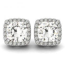 1 ctw Diamond VS/SI Certified Halo Cushion Cut 14K