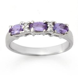 0.82 ctw Tanzanite & Diamond Ring 10K White