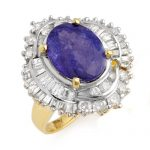 6.0 ctw Tanzanite & Diamond Ring 14K Yellow