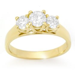 0.75 ctw Certified VS/SI Diamond 3 Stone Ring 14K Yellow