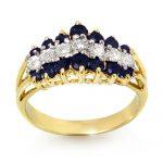 1.02 ctw Blue Sapphire & Diamond Ring 10K Yellow