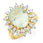 6.08 ctw Aquamarine & Diamond Ring 14K Yellow