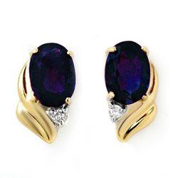 1.20 ctw Blue Sapphire & Diamond Earrings 10K Yellow