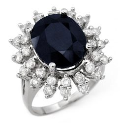 9.85 ctw Blue Sapphire & Diamond Ring 14K White