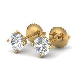 1.01 ctw VS/SI Diamond Solitaire Art Deco Stud Earring 18K