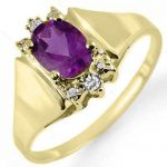 0.78 ctw Amethyst & Diamond Ring 10K Yellow