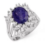4.44 ctw Tanzanite & Diamond Ring 14K White
