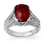 4.75 ctw Rubellite & Diamond Ring 14K White