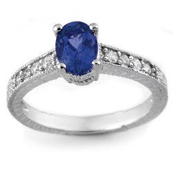 1.02 ctw Blue Sapphire & Diamond Ring 18K White