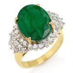 7.56 ctw Emerald & Diamond Ring 14K Yellow