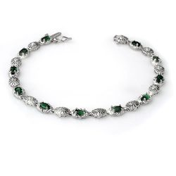 2.62 ctw Emerald & Diamond Bracelet 14K White