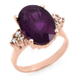 5.15 ctw Amethyst & Diamond Ring 10K Rose