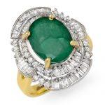 5.95 ctw Emerald & Diamond Ring 14K Yellow