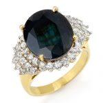 9.88 ctw Blue Sapphire & Diamond Ring 14K Yellow