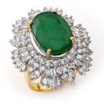 11.65 ctw Emerald & Diamond Ring 14K Yellow