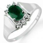 1.10 ctw Emerald & Diamond Ring 10K White