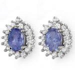3.63 ctw Tanzanite & Diamond Earrings 14K White