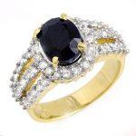 4.70 ctw Blue Sapphire & Diamond Ring 14K Yellow