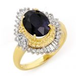 3.01 ctw Blue Sapphire & Diamond Ring 14K Yellow