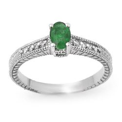0.76 ctw Emerald & Diamond Ring 14K White