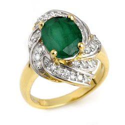3.29 ctw Emerald & Diamond Ring 14K Yellow