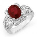 3.20 ctw Ruby & Diamond Ring 14K White