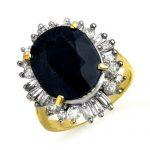 10.99 ctw Blue Sapphire & Diamond Ring 14K Yellow