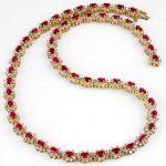 27.10 ctw Ruby & Diamond Necklace 14K Yellow