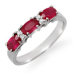 1.09 ctw Ruby & Diamond Ring 10K White