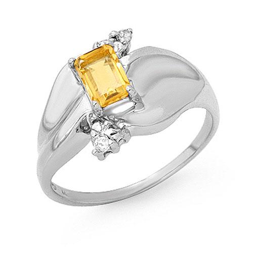0.72 ctw Citrine & Diamond Ring 10K White