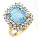 5.10 ctw Blue Topaz & Diamond Ring 14K Yellow