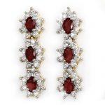 2.81 ctw Ruby & Diamond Earrings 14K Yellow
