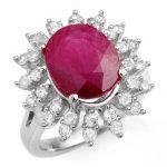 7.21 ctw Ruby & Diamond Ring 18K White