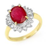 4.50 ctw Ruby & Diamond Ring 14K Yellow