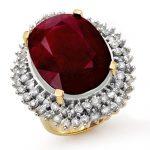 31.12 ctw Ruby & Diamond Ring 14K Yellow