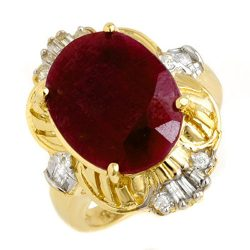 7.84 ctw Ruby & Diamond Ring 14K Yellow
