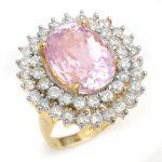 12.08 ctw Kunzite & Diamond Ring 14K Yellow