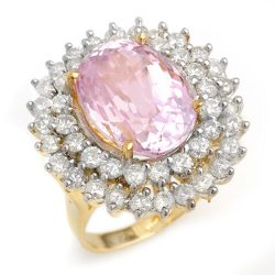 12.08 ctw Kunzite & Diamond Ring 14K Yellow