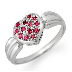 0.40 ctw Pink Sapphire Ring 18K White