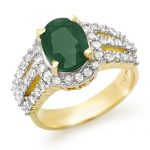4.70 ctw Emerald & Diamond Ring 14K Yellow