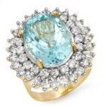 10.50 ctw Aquamarine & Diamond Ring 14K Yellow