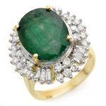 11.75 ctw Emerald & Diamond Ring 14K Yellow