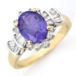 2.90 ctw Tanzanite & Diamond Ring 14K Yellow