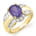 3.52 ctw Tanzanite & Diamond Ring 14K Yellow