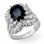 5.15 ctw Blue Sapphire & Diamond Ring 14K White