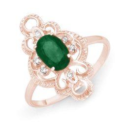 0.71 ctw Emerald & Diamond Ring 10K Rose