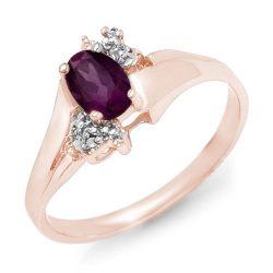 0.55 ctw Amethyst & Diamond Ring 10K Rose