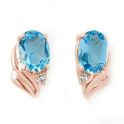 1.23 ctw Blue Topaz & Diamond Earrings 14K Rose