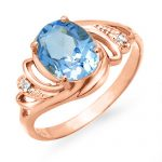 2.53 ctw Blue Topaz & Diamond Ring 14K Rose
