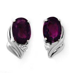 1.03 ctw Amethyst & Diamond Earrings 18K White